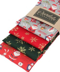 Jolly father Christmas fabrics in red, green and grey.