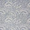 William Morris fabric with a blue leaf design.