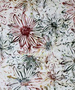 Sunflower batik in earthy hues.