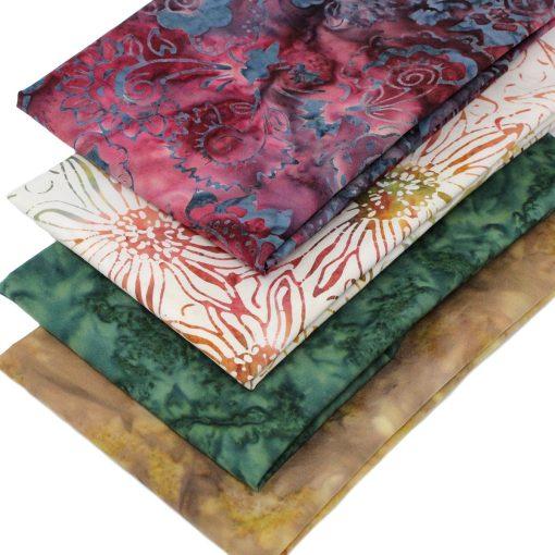 Batik fat quarter fabrics in earthy colours.