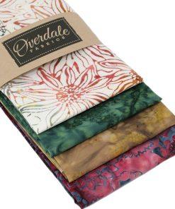 Batik fat quarter pack in greens and browns.